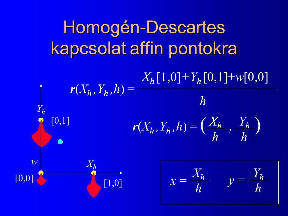 Homogén-Descartes kapcsolat affin pontokra