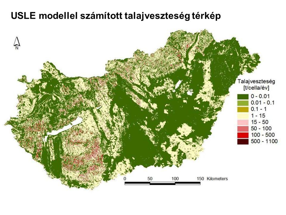 USLE modellel számított talajveszteség térkép