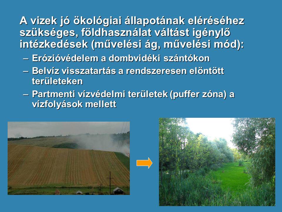 A vizek jó ökológiai állapotának eléréséhez szükséges, földhasználat váltást igénylő intézkedések (művelési ág, művelési mód):