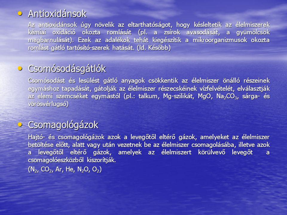 Antioxidánsok Csomósodásgátlók Csomagológázok