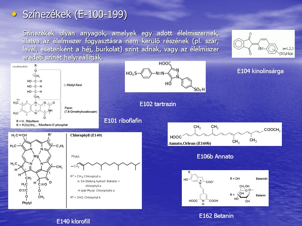 Színezékek (E-100-199) E104 kinolinsárga E102 tartrazin