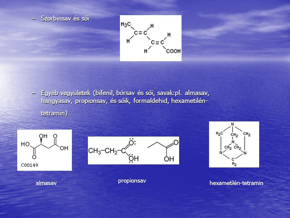 Szorbinsav és sói Egyéb vegyületek (bifenil, bórsav és sói, savak:pl. almasav, hangyasav, propionsav, és sóik, formaldehid, hexametilén-tetramin)
