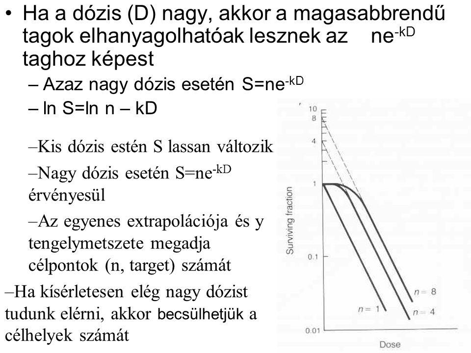 Ha a dózis (D) nagy, akkor a magasabbrendű tagok elhanyagolhatóak lesznek az ne-kD taghoz képest