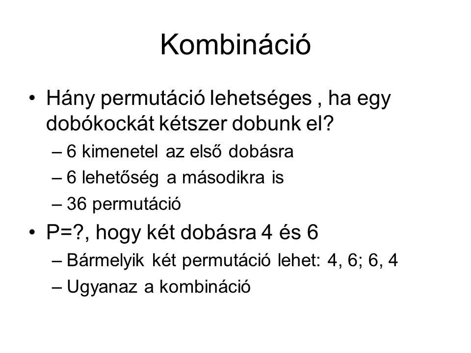 Kombináció Hány permutáció lehetséges , ha egy dobókockát kétszer dobunk el 6 kimenetel az első dobásra.