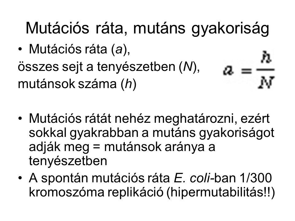 Mutációs ráta, mutáns gyakoriság