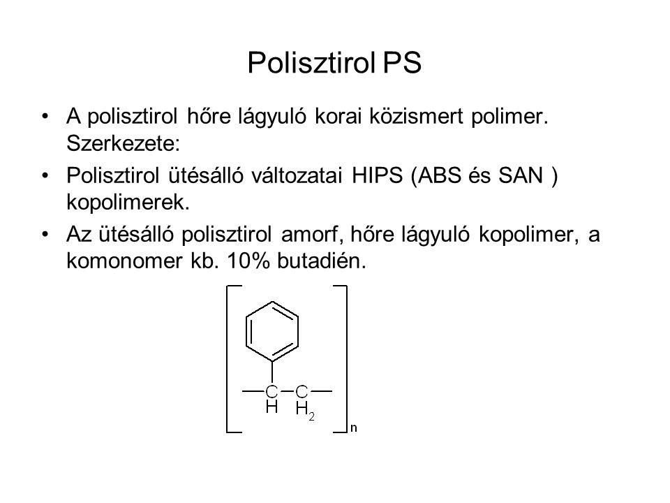 Polisztirol PS A polisztirol hőre lágyuló korai közismert polimer. Szerkezete: Polisztirol ütésálló változatai HIPS (ABS és SAN ) kopolimerek.