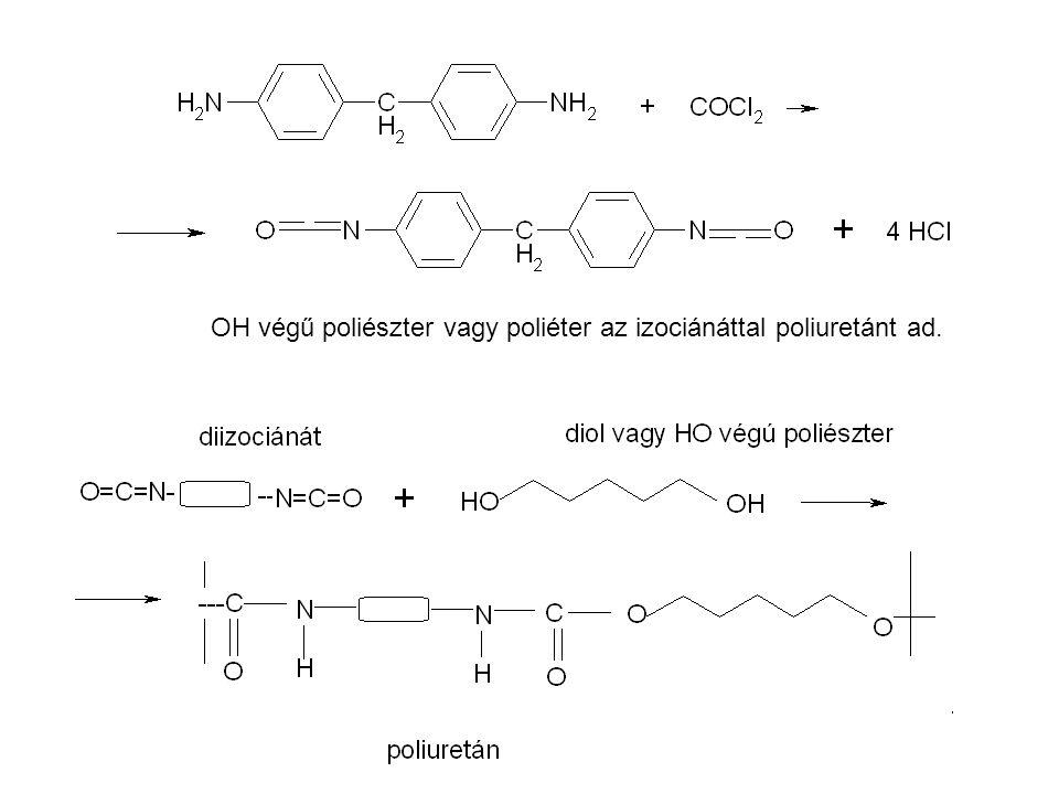 OH végű poliészter vagy poliéter az izociánáttal poliuretánt ad.