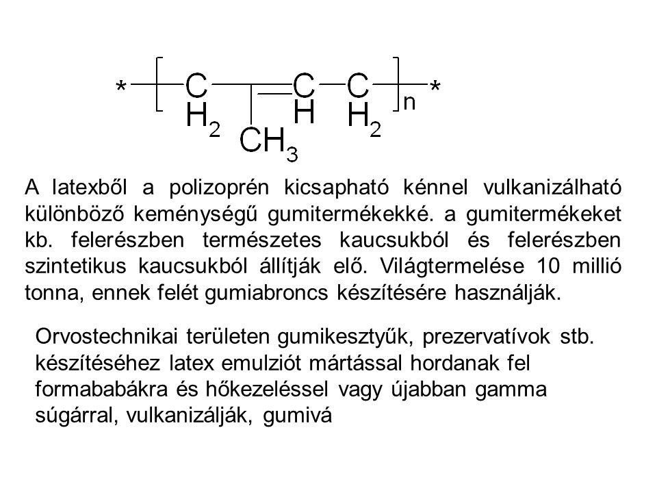 A latexből a polizoprén kicsapható kénnel vulkanizálható különböző keménységű gumitermékekké. a gumitermékeket kb. felerészben természetes kaucsukból és felerészben szintetikus kaucsukból állítják elő. Világtermelése 10 millió tonna, ennek felét gumiabroncs készítésére használják.