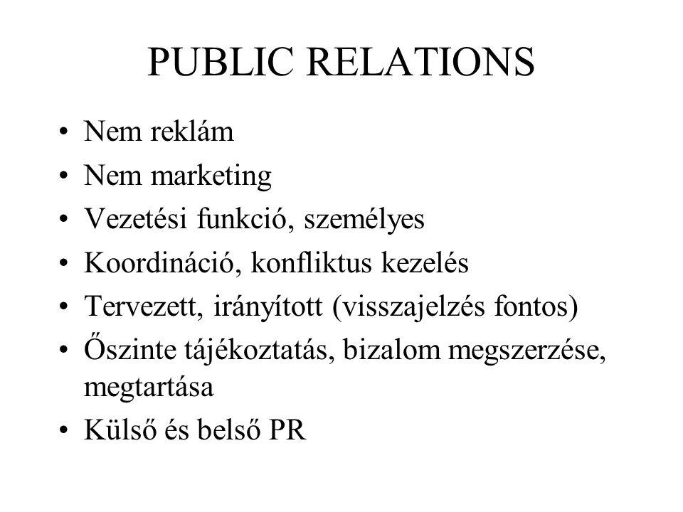 PUBLIC RELATIONS Nem reklám Nem marketing Vezetési funkció, személyes