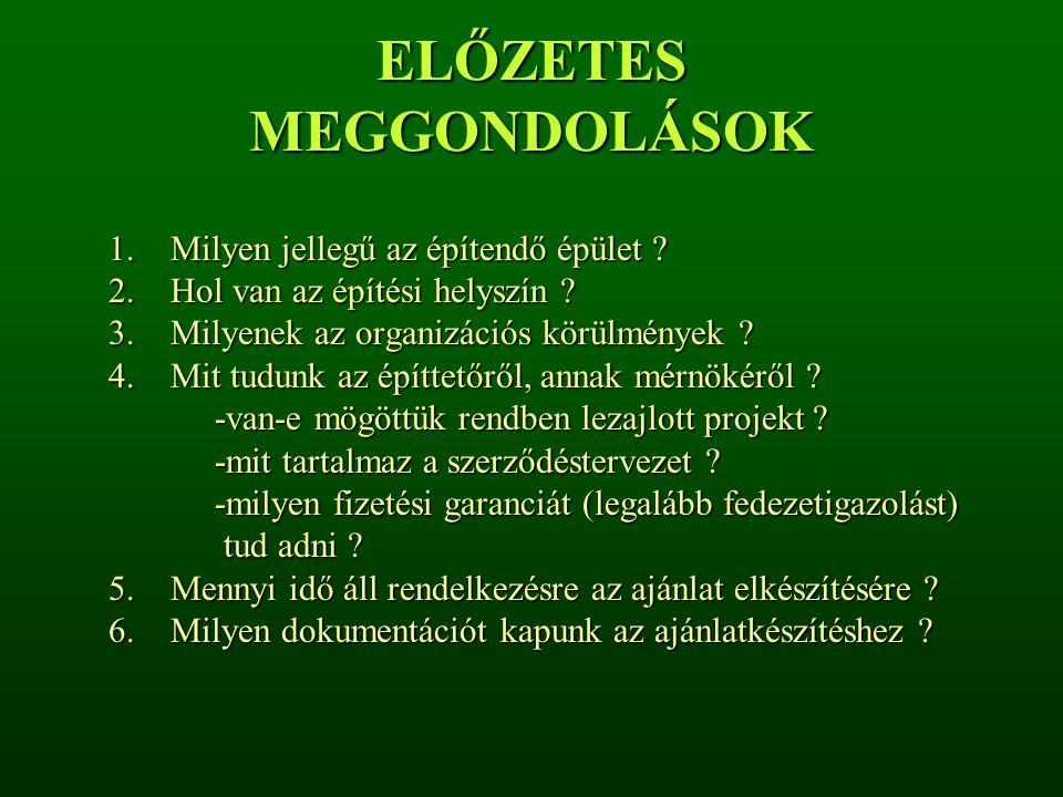 ELŐZETES MEGGONDOLÁSOK