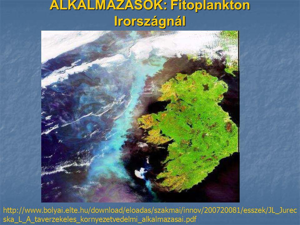 ALKALMAZÁSOK: Fitoplankton Irországnál