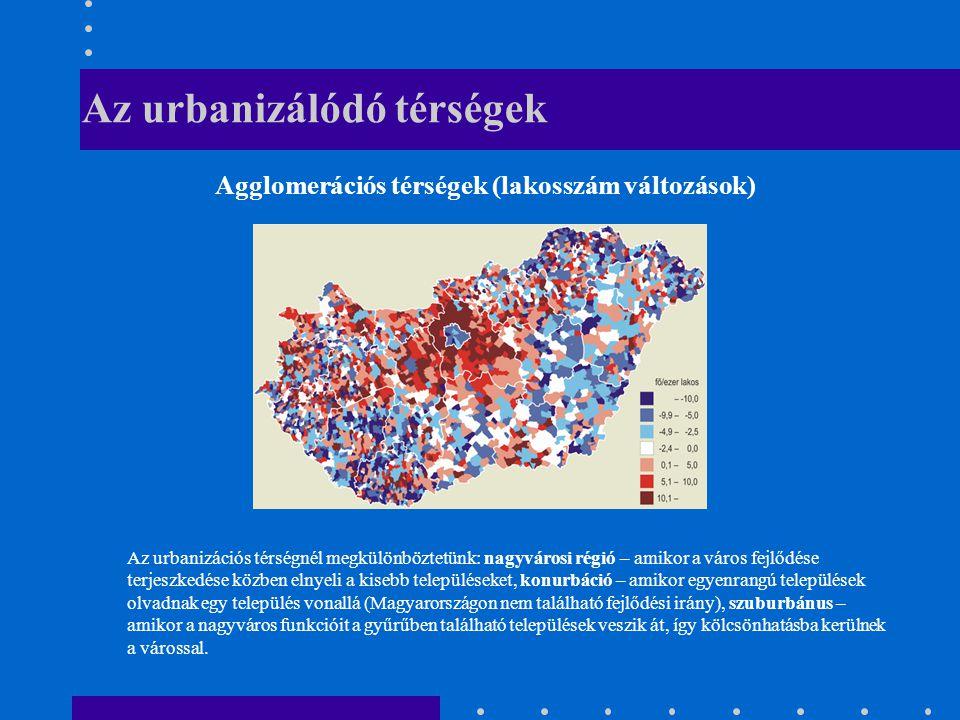 Az urbanizálódó térségek