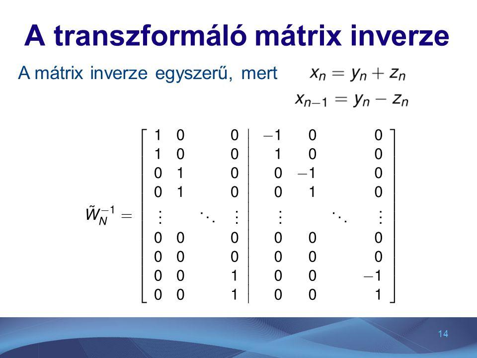 A transzformáló mátrix inverze