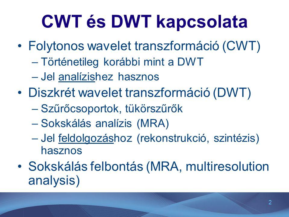 CWT és DWT kapcsolata Folytonos wavelet transzformáció (CWT)