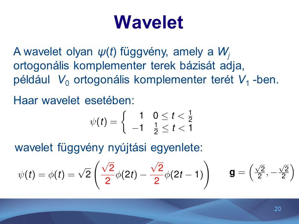 Wavelet A wavelet olyan ψ(t) függvény, amely a Wj ortogonális komplementer terek bázisát adja, például V0 ortogonális komplementer terét V1 -ben.