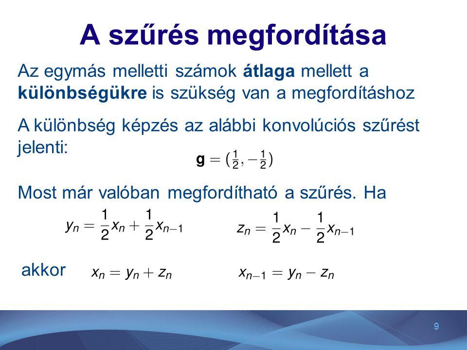 A szűrés megfordítása Az egymás melletti számok átlaga mellett a különbségükre is szükség van a megfordításhoz.