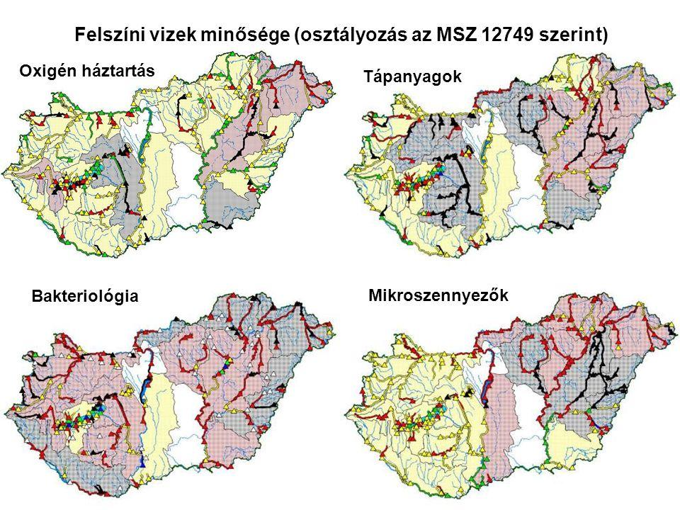 Felszíni vizek minősége (osztályozás az MSZ 12749 szerint)