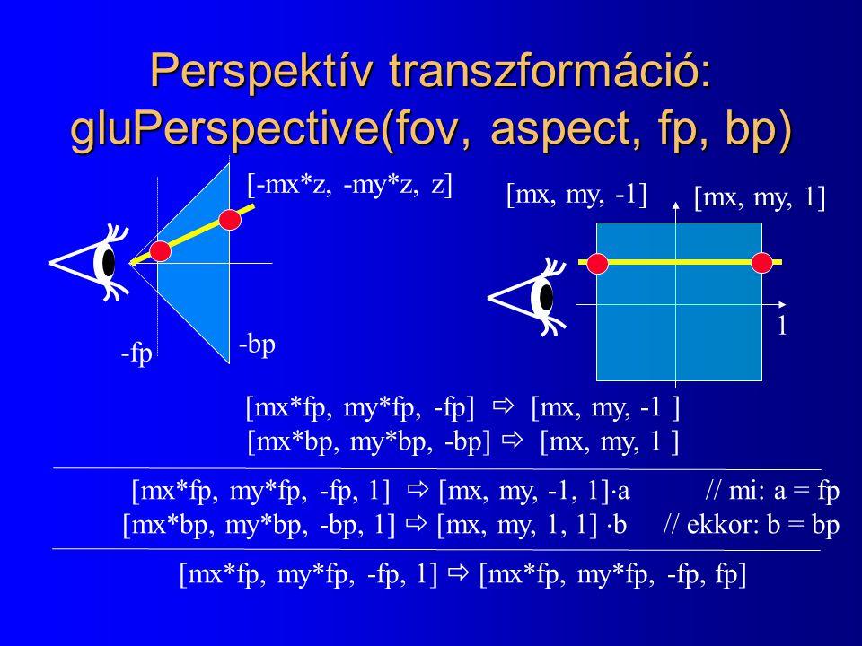 Perspektív transzformáció: gluPerspective(fov, aspect, fp, bp)