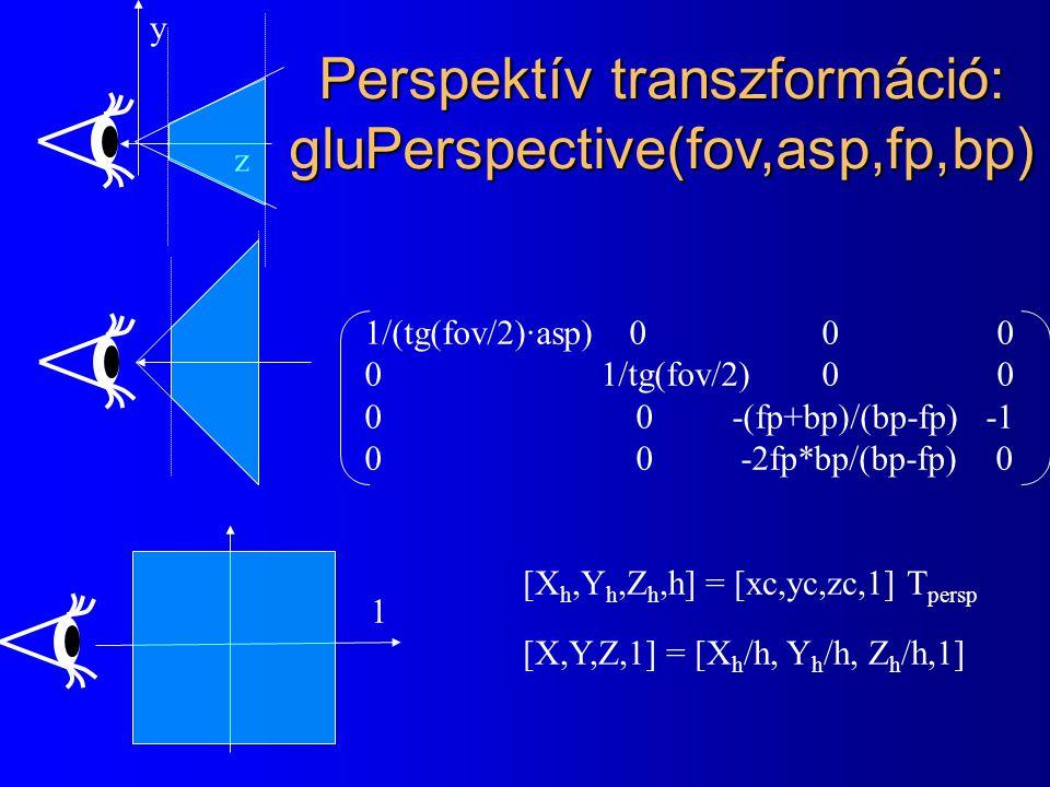 Perspektív transzformáció: gluPerspective(fov,asp,fp,bp)
