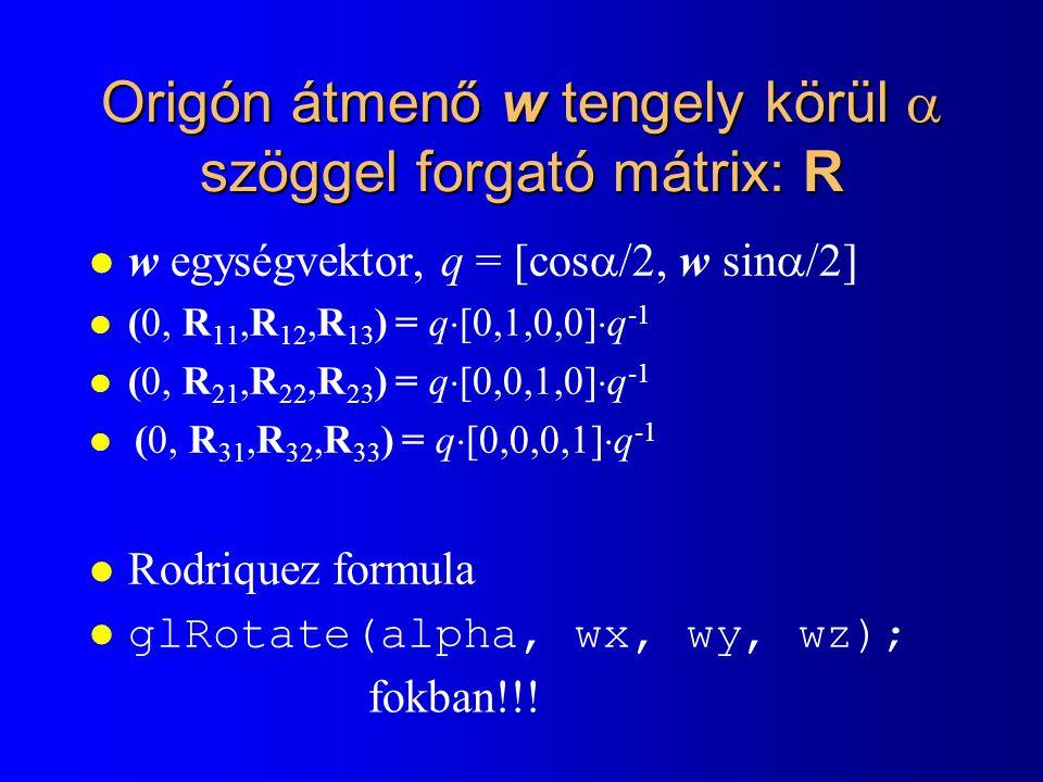 Origón átmenő w tengely körül  szöggel forgató mátrix: R
