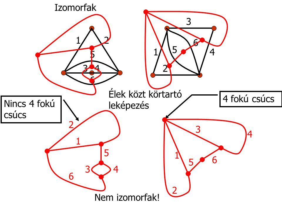 Izomorfak 1. 2. 3. 4. 5. 6. 1. 2. 3. 4. 5. 6. Élek közt körtartó leképezés. 4 fokú csúcs.