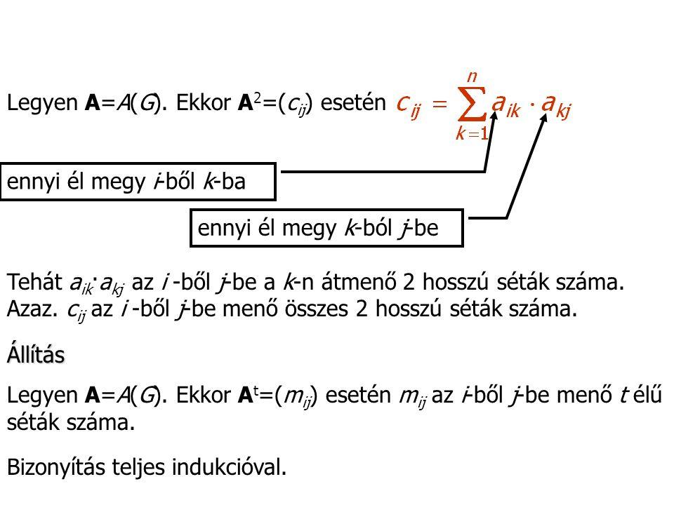 Legyen A=A(G). Ekkor A2=(cij) esetén