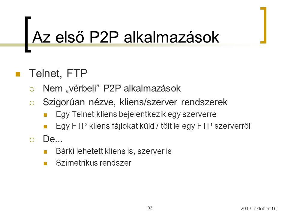 Az első P2P alkalmazások