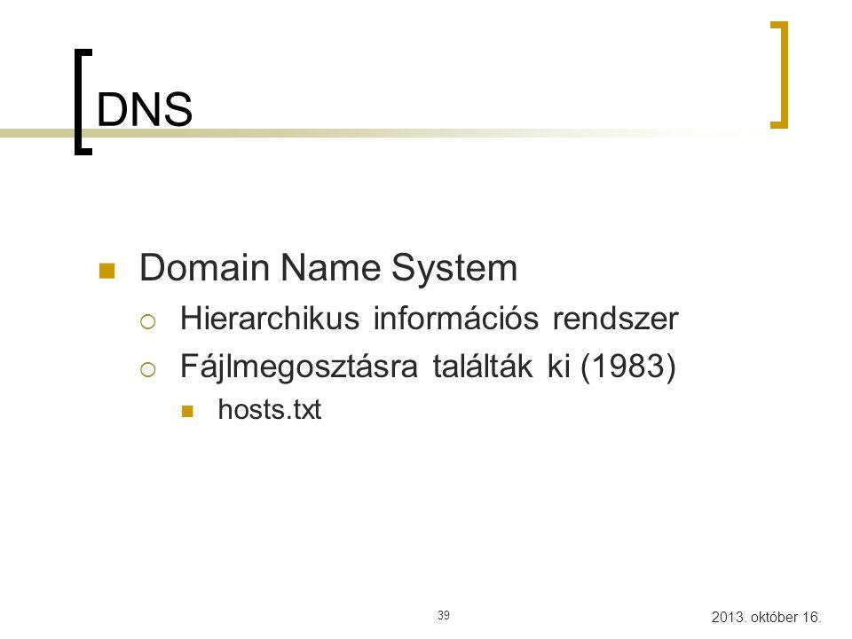DNS Domain Name System Hierarchikus információs rendszer