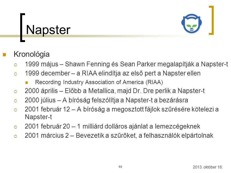 Napster Kronológia. 1999 május – Shawn Fenning és Sean Parker megalapítják a Napster-t.