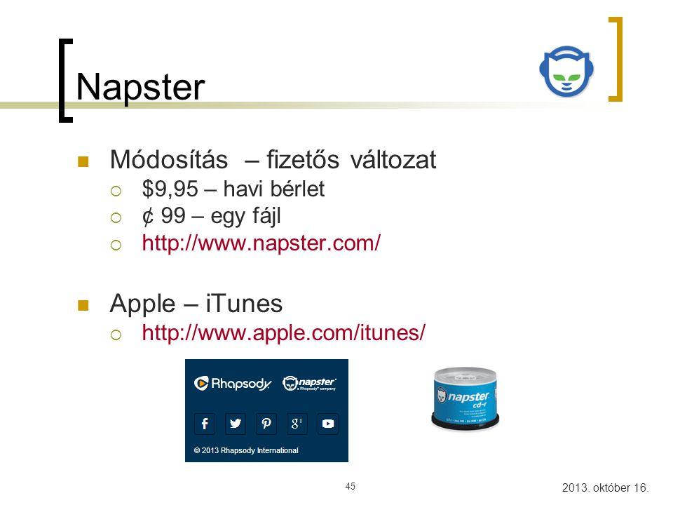 Napster Módosítás – fizetős változat Apple – iTunes