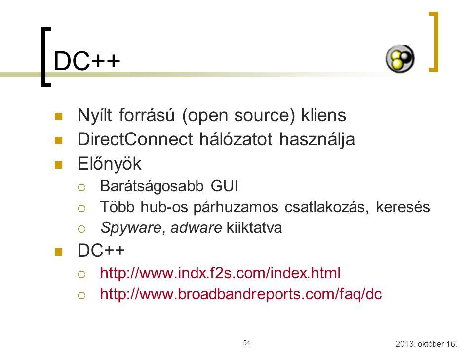 DC++ Nyílt forrású (open source) kliens