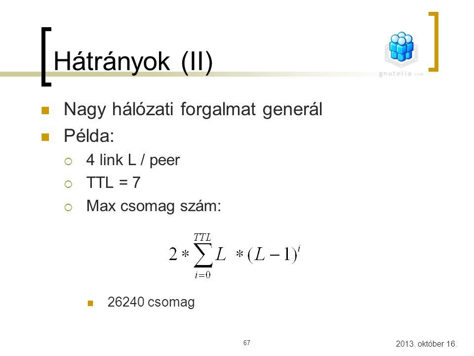 Hátrányok (II) Nagy hálózati forgalmat generál Példa: 4 link L / peer