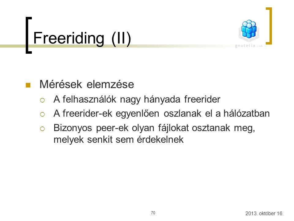 Freeriding (II) Mérések elemzése A felhasználók nagy hányada freerider
