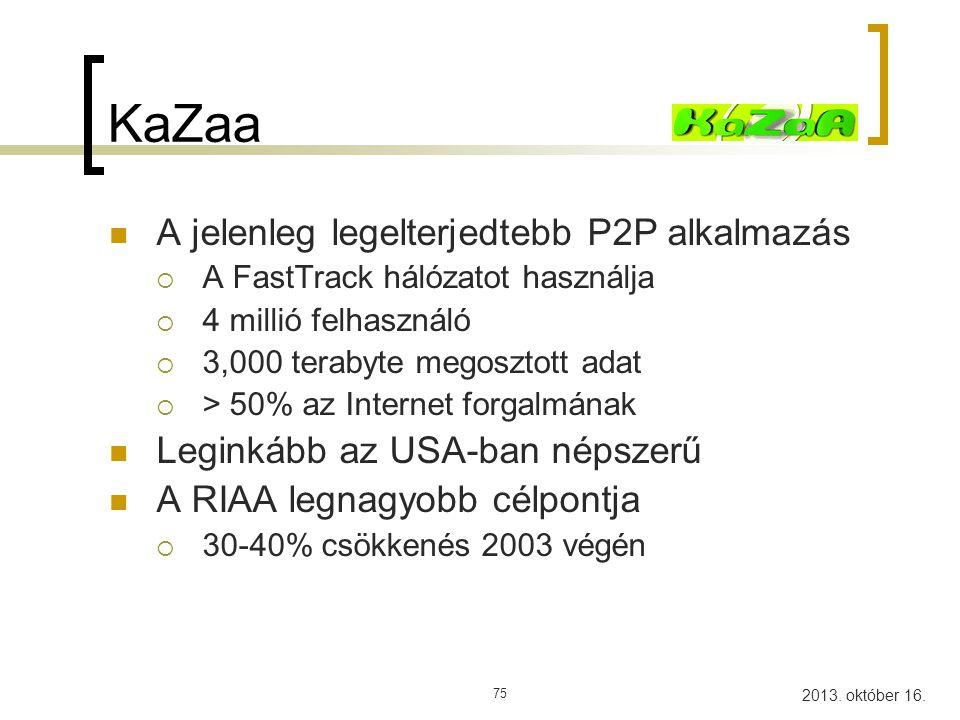 KaZaa A jelenleg legelterjedtebb P2P alkalmazás