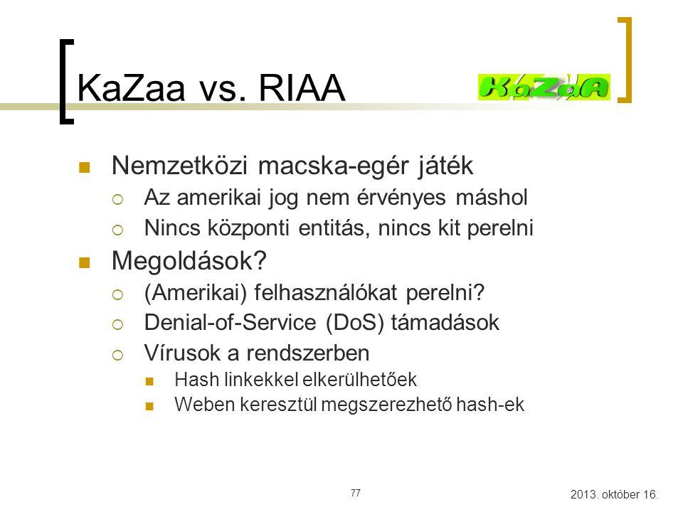 KaZaa vs. RIAA Nemzetközi macska-egér játék Megoldások