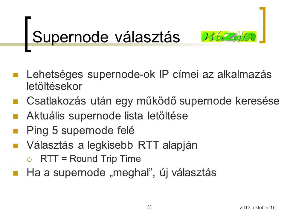 Supernode választás Lehetséges supernode-ok IP címei az alkalmazás letöltésekor. Csatlakozás után egy működő supernode keresése.