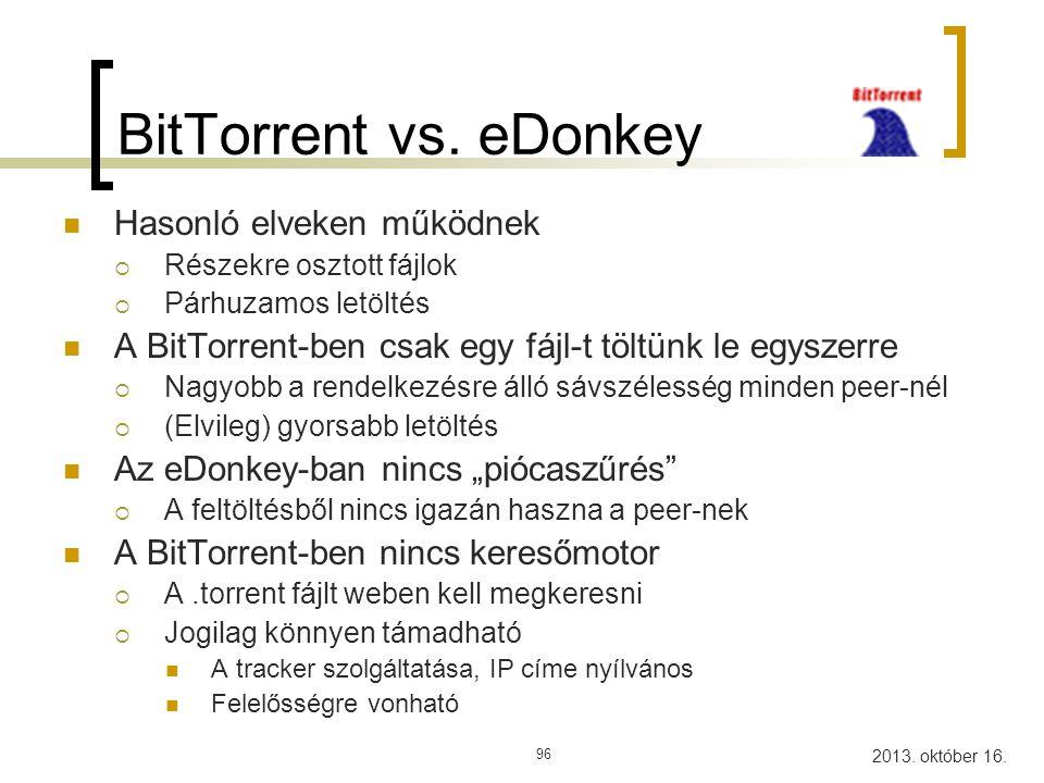 BitTorrent vs. eDonkey Hasonló elveken működnek