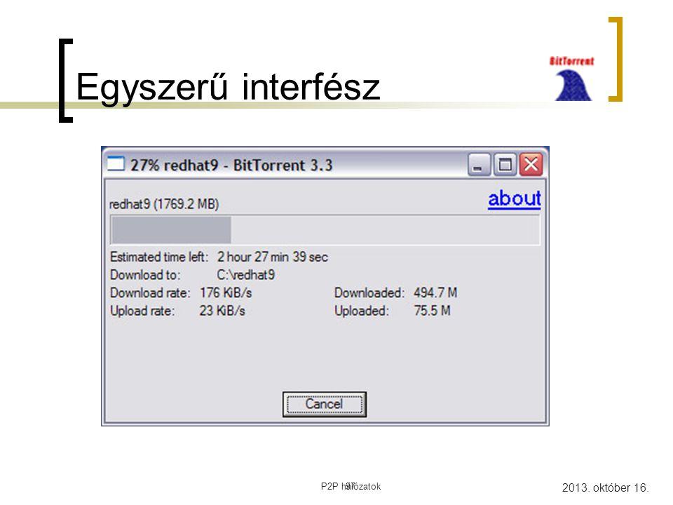 Egyszerű interfész 97 P2P hálózatok