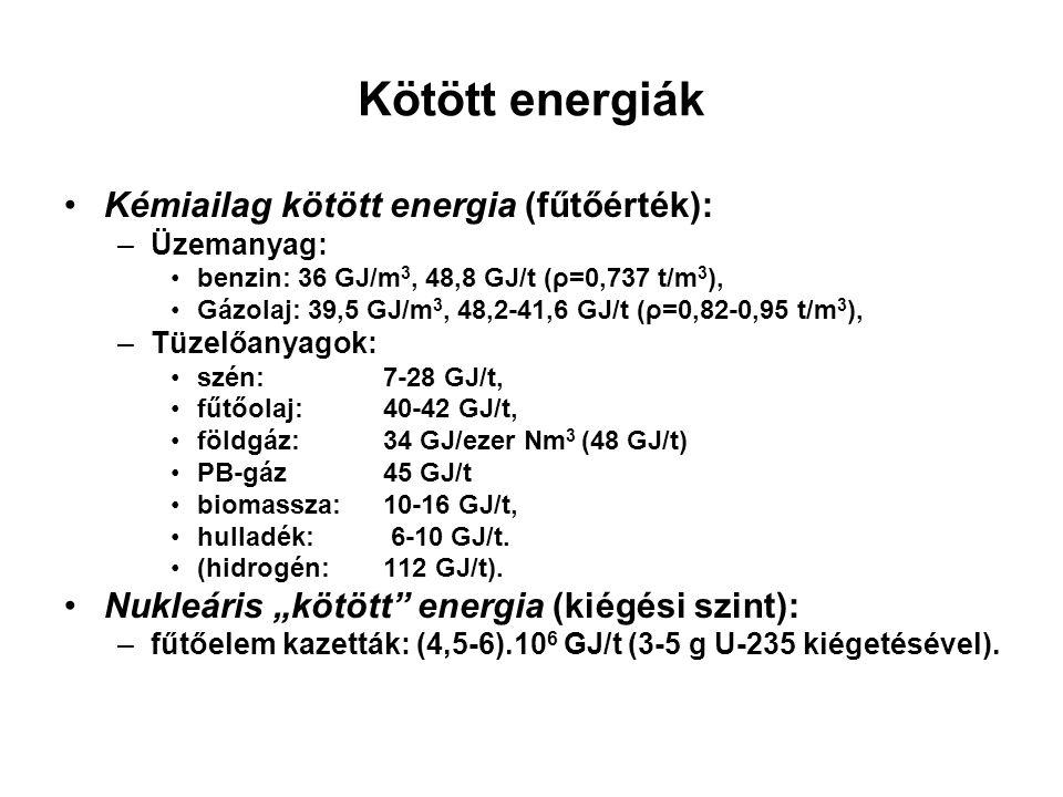 Kötött energiák Kémiailag kötött energia (fűtőérték):