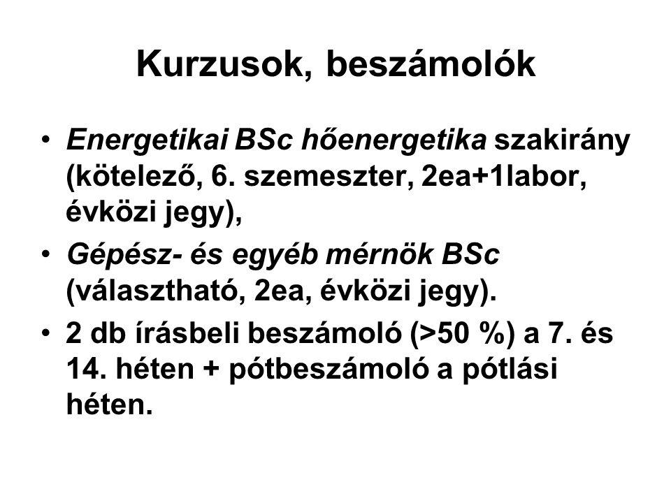 Kurzusok, beszámolók Energetikai BSc hőenergetika szakirány (kötelező, 6. szemeszter, 2ea+1labor, évközi jegy),
