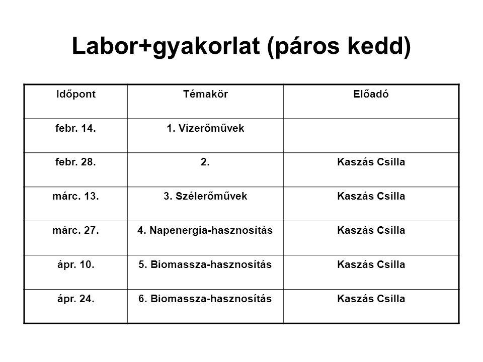 Labor+gyakorlat (páros kedd)