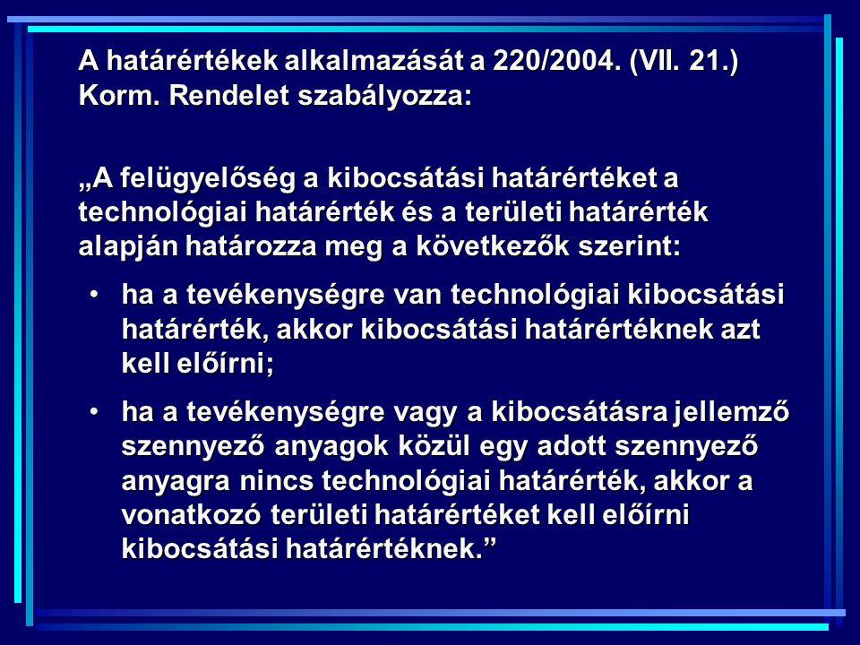 A határértékek alkalmazását a 220/2004. (VII. 21. ) Korm