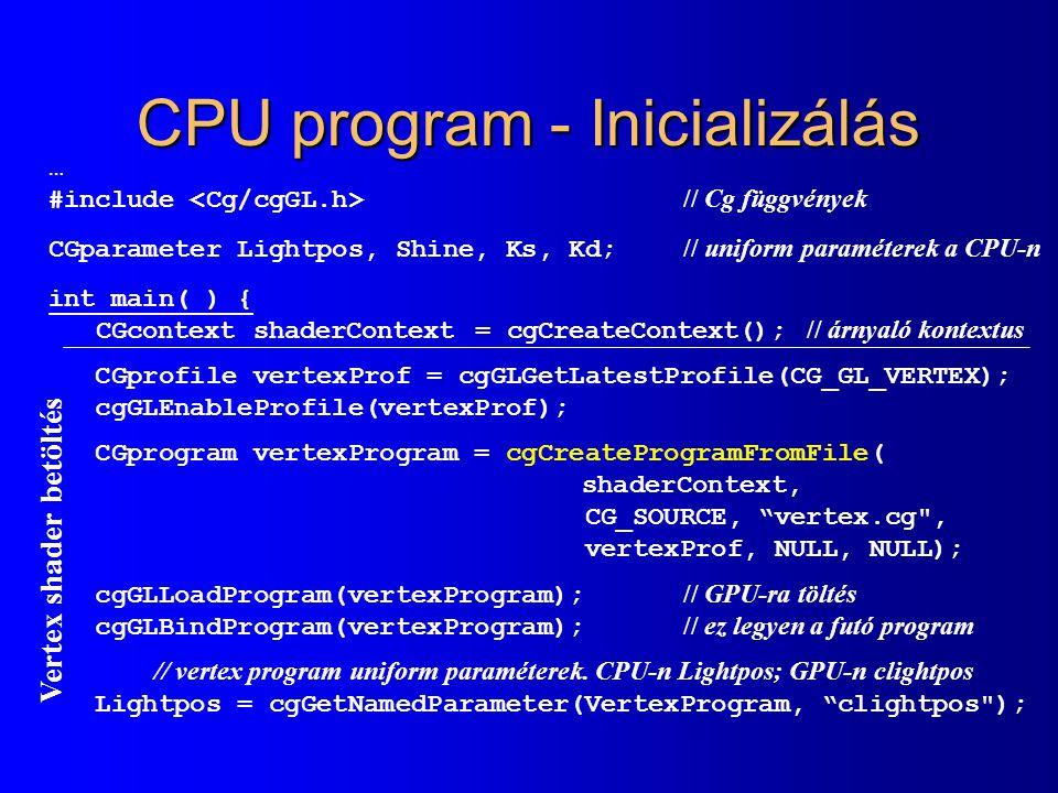 CPU program - Inicializálás