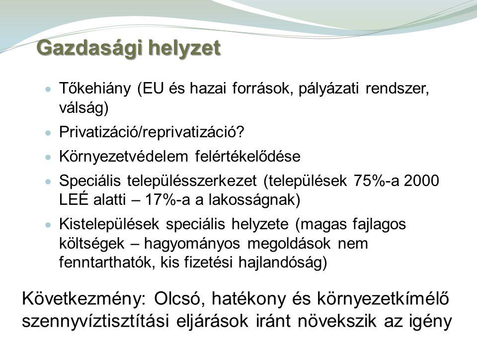 Gazdasági helyzet Tőkehiány (EU és hazai források, pályázati rendszer, válság) Privatizáció/reprivatizáció
