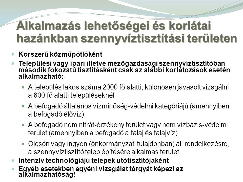 Alkalmazás lehetőségei és korlátai hazánkban szennyvíztisztítási területen