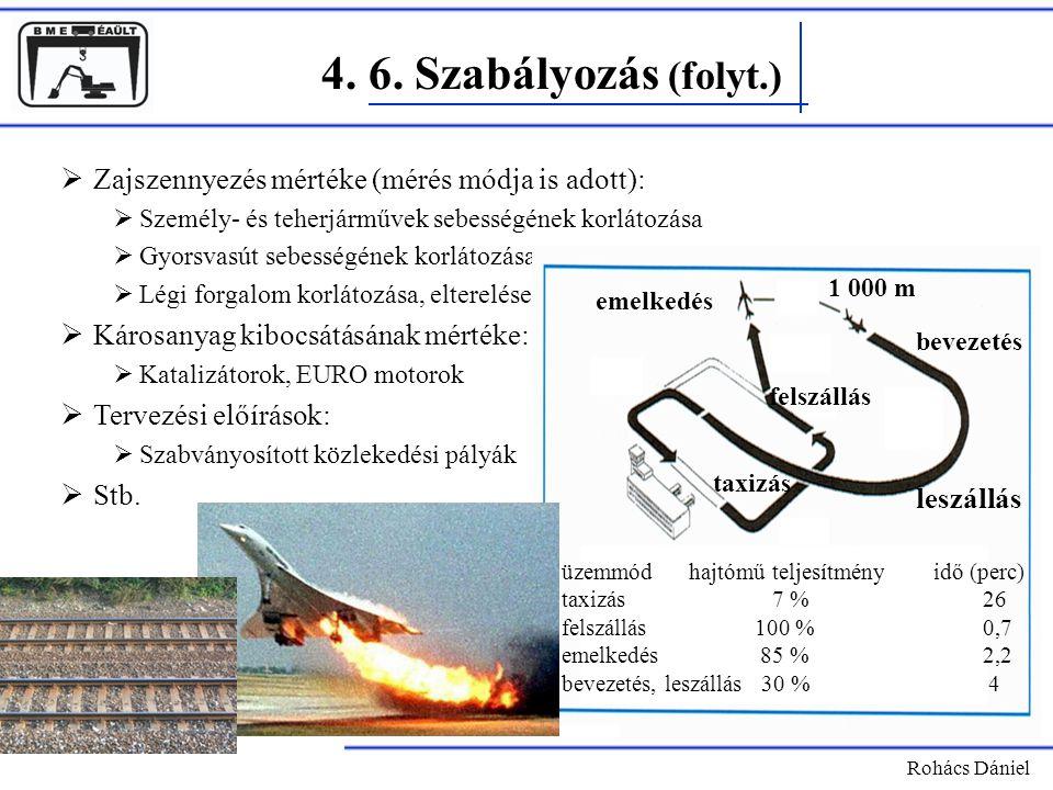 4. 6. Szabályozás (folyt.) Zajszennyezés mértéke (mérés módja is adott): Személy- és teherjárművek sebességének korlátozása.