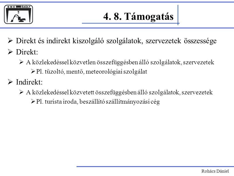 4. 8. Támogatás Direkt és indirekt kiszolgáló szolgálatok, szervezetek összessége. Direkt: