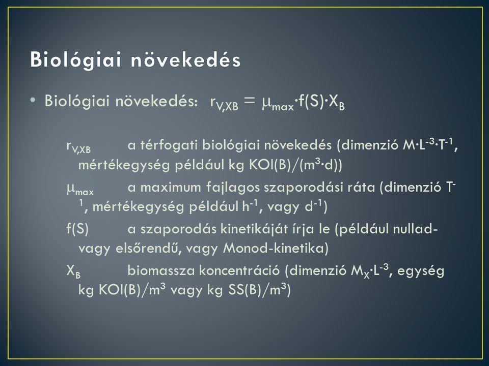 Biológiai növekedés Biológiai növekedés: rV,XB = max·f(S)·XB