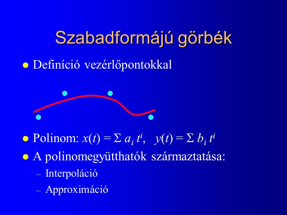 Szabadformájú görbék Definíció vezérlőpontokkal