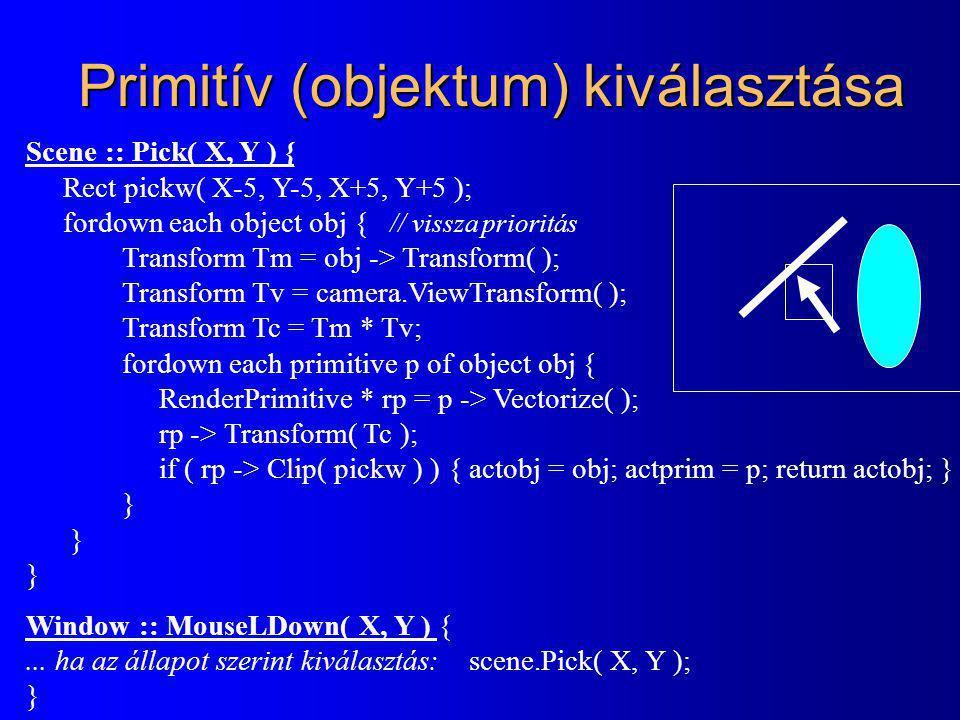 Primitív (objektum) kiválasztása